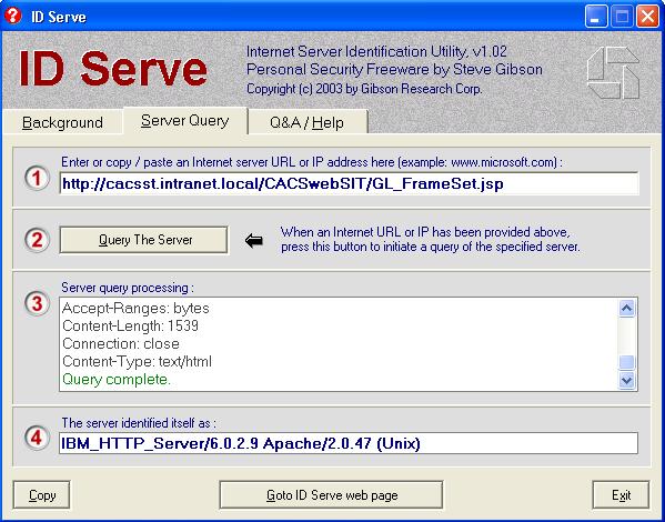 Identify a web server