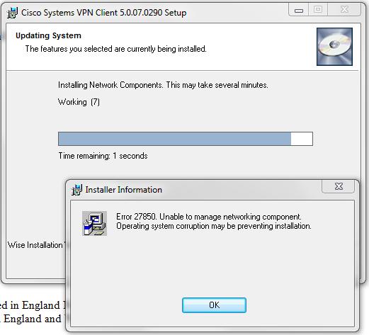 VPN installation error