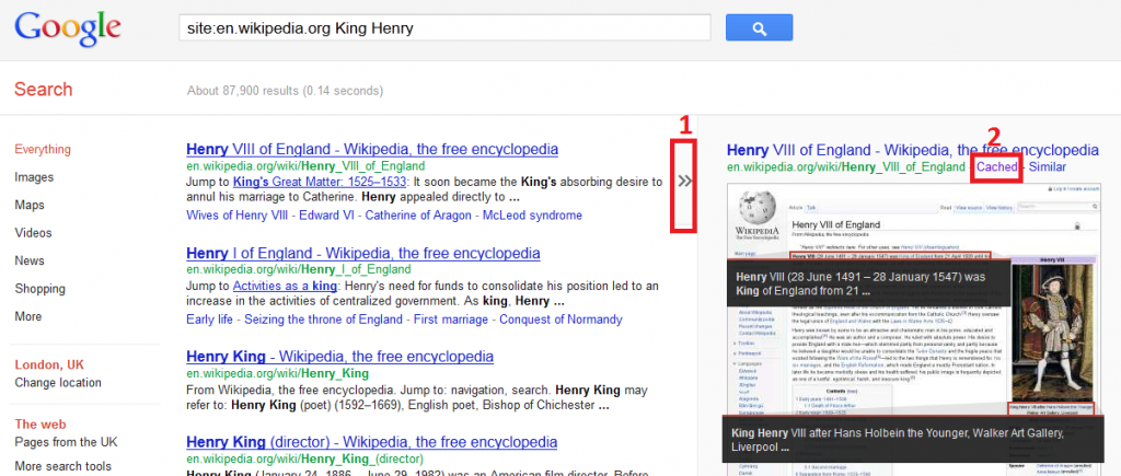 Example of Search results with link to google cached content