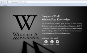 Blacked out Wikipedia home page