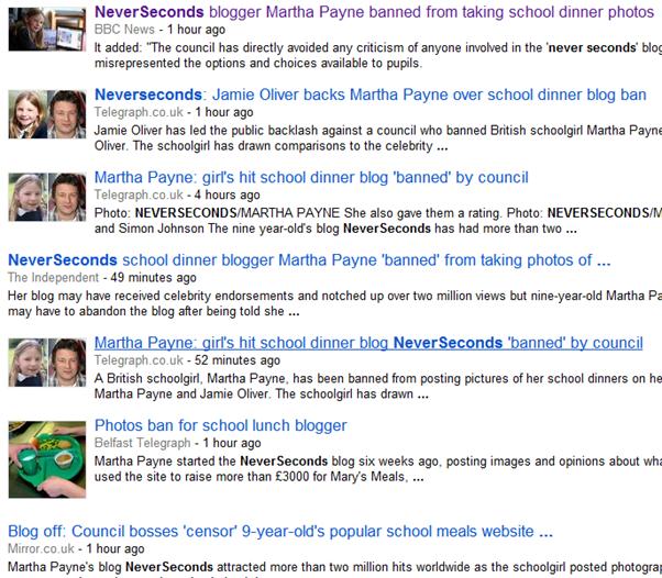 Never seconds news articles