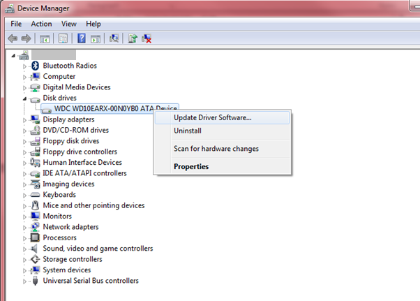 Device Manager - showing option to update driver software